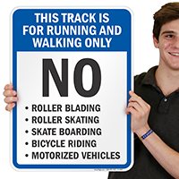 Track Running Walking Only Sign