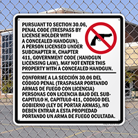 Sec. 30.06 Trespass By License Handgun Prohibited Sign