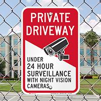 Under 24 Hour Surveillance Private Driveway Signs