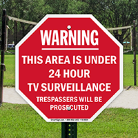 Warning: Area under 24 hours TV. surveillance sign