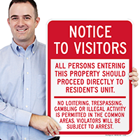 Notice Visitors Resident's Unit Sign