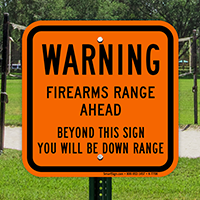Firearms Range Ahead Sign