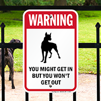 Warning, Guard Dog Sign (with Graphic)