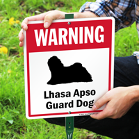 Warning Lhasa Apso Guard Dog LawnBoss Sign