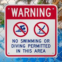Warning No Swimming Or Diving Signs