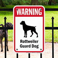 Warning Pug Guard Rottweiler Guard Dog Sign