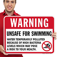 Warning Unsafe For Swimming Pool Signs