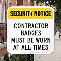 Contractor Badges Must Be Worn Sign