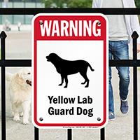 Warning Yellow Lab Guard Dog Guard Dog Sign