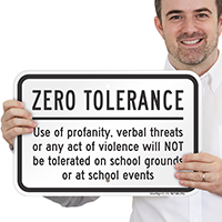 Act Of Violence Not Tolerated School Sign