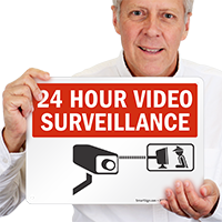 24 Hour Video Surveillance CCTV Camera Sign