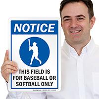 Baseball Notice Sign
