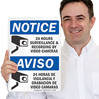 Bilingual 24 Hours Surveillance & Recording Sign