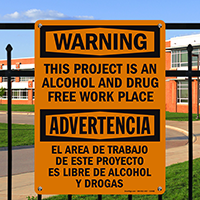 Bilingual No Alcohol And Drug Free Sign