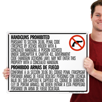 Bilingual No Concealed Carry Sign