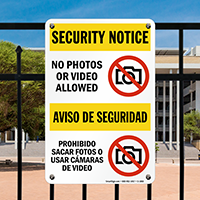 No Photos Video Allowed Security Notice Bilingual Sign