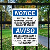 Notice Vehicles Personnel Subject To Search Bilingual Sign