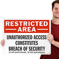 Restricted Area, Breach Of Security Marsec Sign
