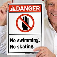 Danger No Swimming Skating Sign