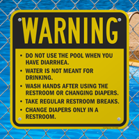 Do Not Use Pool When Having Diarrhea Sign