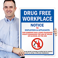 Drug Free Workplace Sign