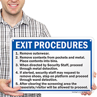 Exit Procedures Check Point Sign