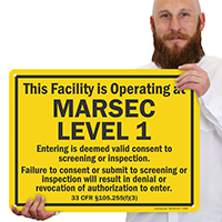 Facility Is Operating At Marsec Level 1 Sign