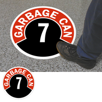 Garbage Can 7 Floor Sign & Label