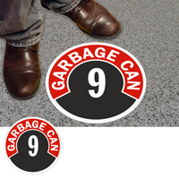 Garbage Can 9 Floor Sign & Label