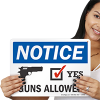 Guns Allowed OSHA Notice Sign