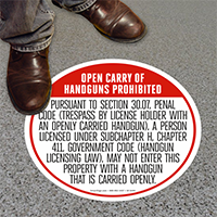 Texas Open Carry Regulations Floor Signs