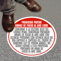 Texas 30.07 Open Carry Prohibited Floor Sign, Spanish
