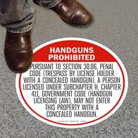 Texas Concealed Carry Regulations Floor Sign