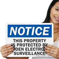 Protected By Hidden Electronic Surveillance Notice Sign