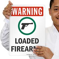Loaded Firearms OSHA Warning Sign with Gun Symbol