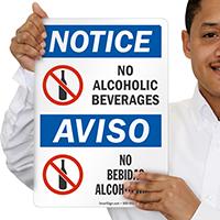 No Alcoholic Beverages Bilingual Sign