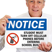Student must Turn off phones Sign