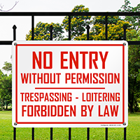 no entry without permission sign amp no trespassing law sign