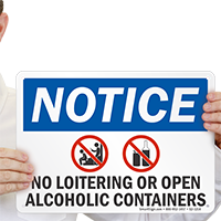 No Loitering Or Open Alcoholic Containers Sign