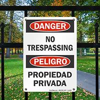 Danger Peligro No Trespassing Propiedad Privada Sign