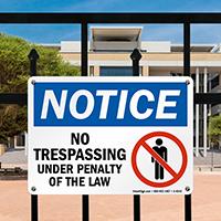 Notice: No Trespassing (graphic) Sign