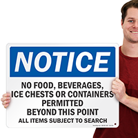 Notice No Food Beverages Beyond This Point Sign