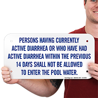 Person Having Diarrhea Not Allowed Pool Sign