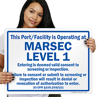 Port/Facility Operating At Marsec Level 1 Sign, Blue