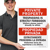 Bilingual Private Property Trespassing Strictly Forbidden Sign