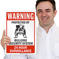 Protected By Bulldog Security System Warning Sign