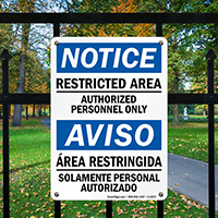 Restricted Area Authorized Personnel Only Bilingual Sign