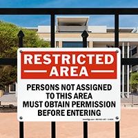 Restricted Area Persons Permission Entering Sign