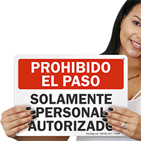 Solamente Personal Autorizado Spanish Sign