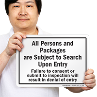 All Persons Subject To Search Upon Entry Sign